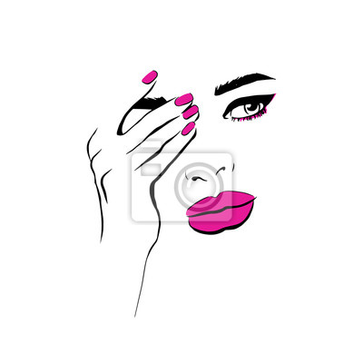Poster Fashion woman with pink lips closes hand face sketch. Fashion face woman portrait with eyeshadow. Beautiful young woman portrait with elegant makeup. Beauty Fashion model. Sketch. Vector illustration.