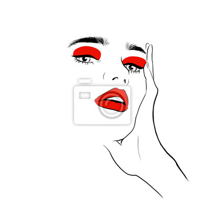 Poster Fashion woman with red lips sketch. Fashion face woman portrait for your design. Beautiful young woman portrait with elegant makeup and hand. Beauty Fashion model. Sketch. Vector illustration.