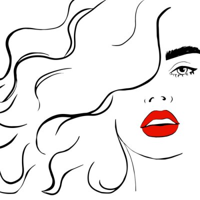 Poster Fashion woman with red lips sketch. Fashion face woman portrait for your design. Beautiful young woman portrait with elegant makeup. Beauty Fashion model. Sketch. Vector illustration.