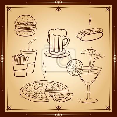 Fast food icon set. Vektor-Illustration.