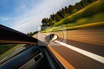 Poster Fast moving car