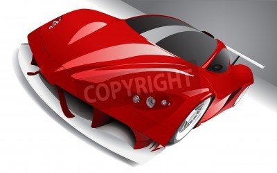 Poster fast racing red car, layered, fully editable