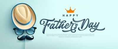 Poster Father's Day poster or banner template with symbol of Dad from hat,glasses and mustache.Greetings and presents for Father's Day in flat lay styling.Promotion and shopping template for love dad