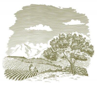 Poster Federzeichnung eines Bauernhof-Feldes mit Bergen im Hintergrund.