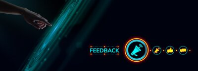 Poster Feedback customer satisfaction review.Hand pressing button on virtual screen