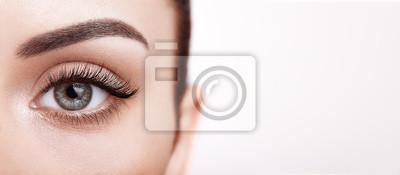 Poster Female Eye with Extreme Long False Eyelashes. Eyelash Extensions. Makeup, Cosmetics, Beauty. Close up, Macro