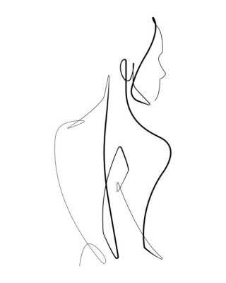 Poster Female Form Continuous Vector line Graphic