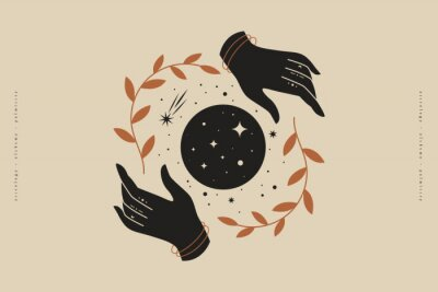 Poster Female hands hold branches around the shimmering moon. Magic vector illustration in trendy minimal style. Mystical symbols for spiritual practices, ethnic magic, and astrological rites.