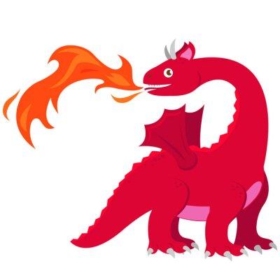 Poster Feuer-atmender Drache