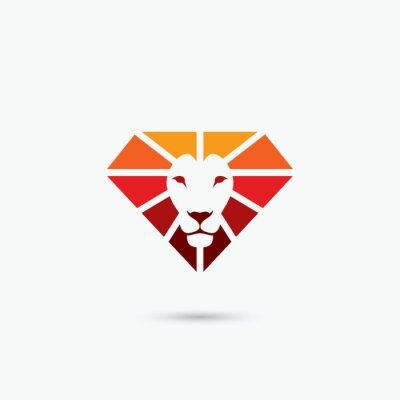 Poster Feuerdiamantlöwesymbol