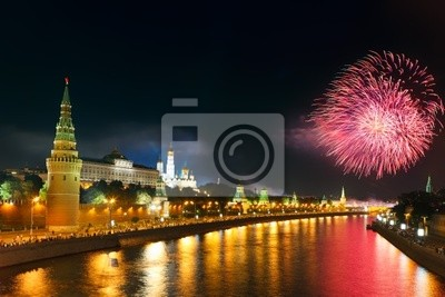 Feuerwerk über dem Moskauer Kreml
