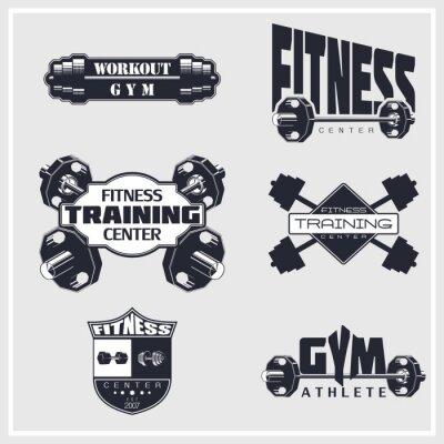 Poster Fitness, gym, bodybuilding emblems
