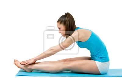 Fitness Mädchen berühren Zehen.