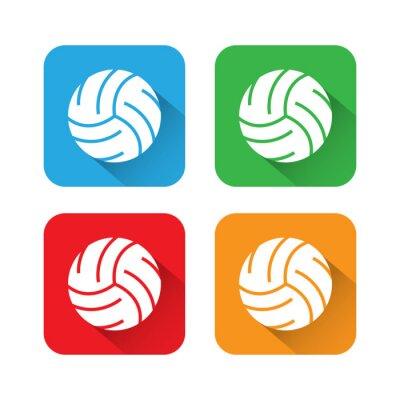 Poster Flach-und Long-Schatten-Volleyball-Symbol
