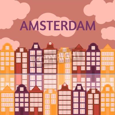 Flache Linie Kunst Amsterdams Stadt. Reisemarkstein, Architektur von den Niederlanden, Holland-Häuser, lokalisierter Satz des europäischen Gebäudes