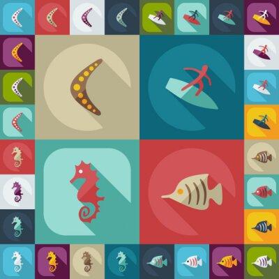 Poster Flaches Konzept, modernes Design mit Schatten avstralia