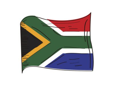 Poster Flag of South Africa. Hand drawing - Vector illustration