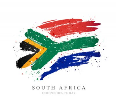 Poster Flag of South Africa. Vector illustration on a white background.