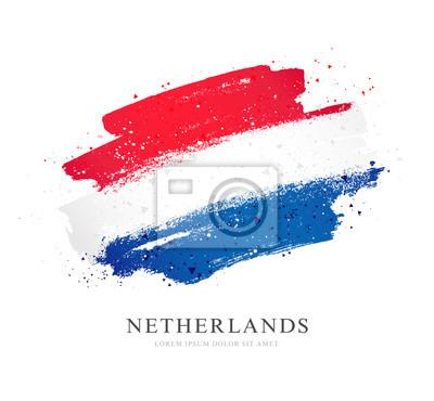 Poster Flag of the Netherlands. Vector illustration on white background.