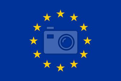 Poster Flagge von Europa, Europäische Union