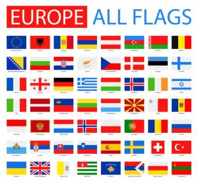 Poster Flaggen von Europa - Vektor-Sammlung. Vector Set von flachen europäischen Flaggen.