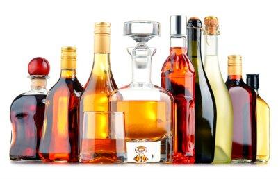 Poster Flaschen von verschiedenen alkoholischen Getränken