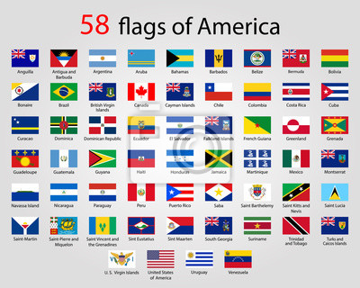 Poster Flat Round Flags of America - Full Vector CollectionVector