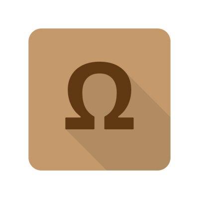 Poster Flat Stil Omega Web-app-Symbol auf hellbraunem Hintergrund