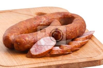 Fleisch Delikatessen auf der Platine isoliert auf den weißen
