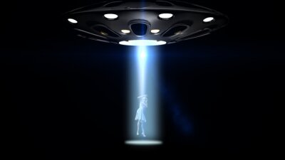 Poster Fliegende Untertassen ufo eine Frau entführt