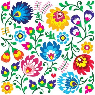 Poster Floral polnischen Volkskunst-Muster in square - Wycinanki