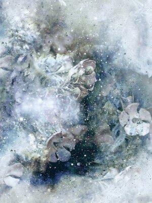 Poster Flovers und Winter Hintergrund, Old Style Art, Computer-Collage.