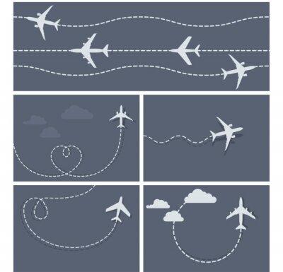 Poster Flugreise - gepunktete Spur des Flugzeugs, herzförmig und lo