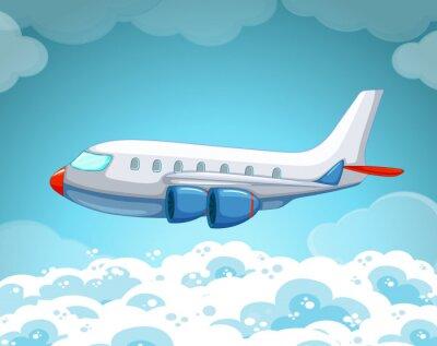 Poster Flugzeug fliegen in den Himmel