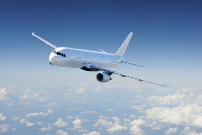 Poster Flugzeug in den Himmel, über den bewölkten Himmel
