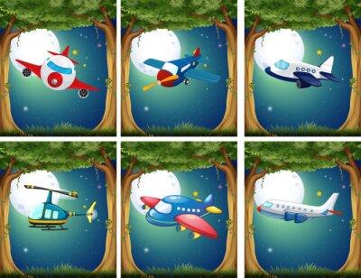 Poster Flugzeuge und Hubschrauber fliegen in der Nacht