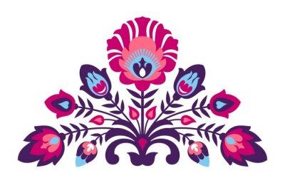 Poster Folk Papierschnitt Stil Blumen