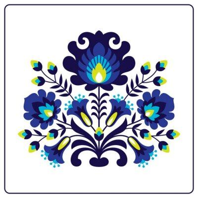 Poster Folk Scherenschnitten - Blumen