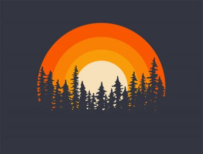 Poster Forest landscape trees silhouettes with sunset on background. T-shirt or poster design illustration. Vector illustration