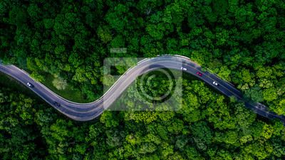 Poster Forest Road, Aerial view over tropical tree forest with a road going through with car.