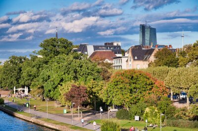 Frankfurt, Germany. City river and skyline on a summer afternoon