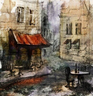 Poster Französisch Außen european cafe Malerei, Grafik, Zeichnung, Farbe