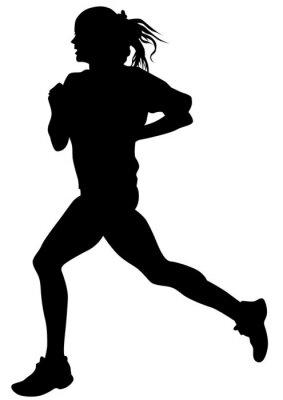 Poster Frau Athleten auf laufenden Rennen auf weißem Hintergrund