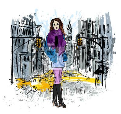Frau auf der Straße bleiben