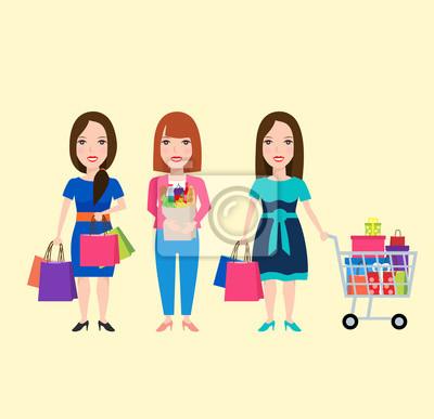 Poster Frau einkaufen. Frau mit Einkaufstasche. Frau mit Einkaufswagen. Frau mit Einkaufstüte