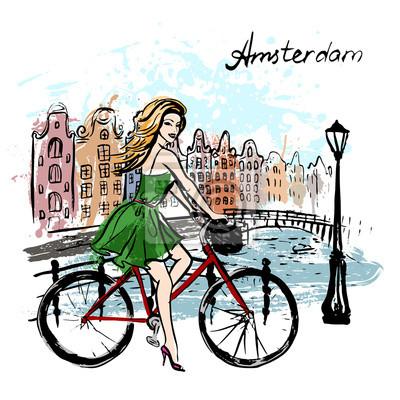 Frau Fahren Fahrrad