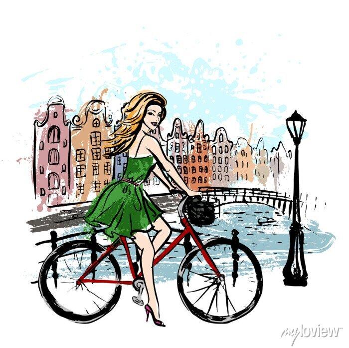 Poster Frau Fahren Fahrrad
