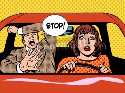 Poster Frau Fahrer Fahrschule Panik ruhigen Retro-Stil Pop Art. Auto und Transport