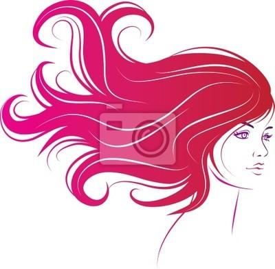 Poster Frau Gesicht mit langen schwarzen Haaren