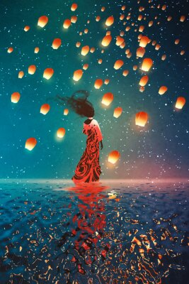 Poster Frau im Kleid stehen auf dem Wasser gegen Laternen schwimmende in einem Nachthimmel, Illustration Malerei